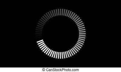 Animation loading circle icon on black background. Preloaded circle