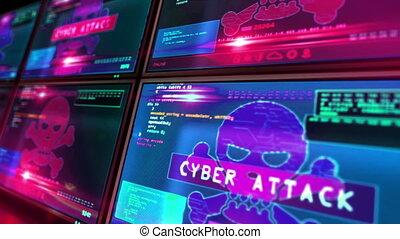 animation, loopable, attaque, crâne, écrans, symbole, cyber, alerte