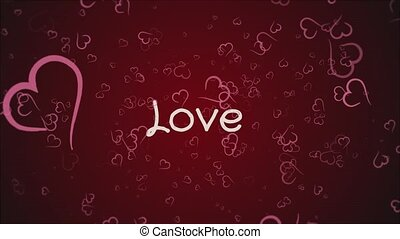 Animation Love, greeting card, falling pink hearts, red...