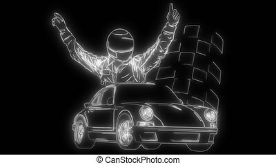 animation, lumières, haut, voiture course