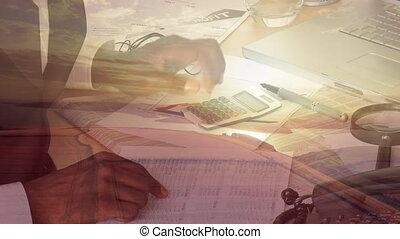 animation, mélangé, homme, écriture, course, calculatrice, sur, plage, papier, morceau, coucher soleil, utilisation