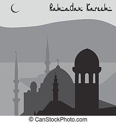 Animation Magic Turkish city of Istanbul in black and white. Ramadan. illustration
