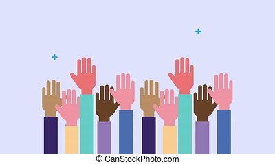 animation, mains humaines, diversité, haut