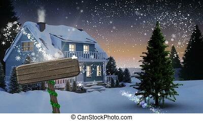 animation, maison, couvert, neige