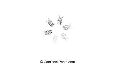 animation, mandala, blanc, simple, 4k, arrière-plan., preloader, noir