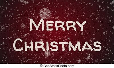 Animation Merry Christmas, falling snow, red background