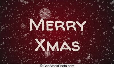 Animation Merry Xmas, falling snow, red background
