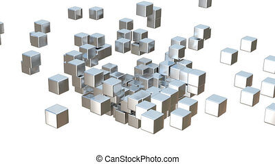 Metal cube - Animation Metal cube alpha channel Transparent ...
