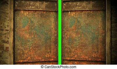 animation - metal door opening to green screen