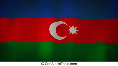 Azerbaijan flag fabric texture waving in the wind. -...