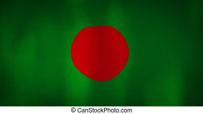 Bangladesh flag fabric texture waving in the wind. -...