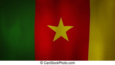 Cameroon flag fabric texture waving in the wind. - animation...