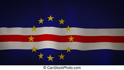 Cape Verde flag fabric texture waving in the wind. -...
