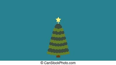 Christmas tree flat style background