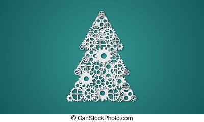 animation modern concept christmas tree and mechanism gears...