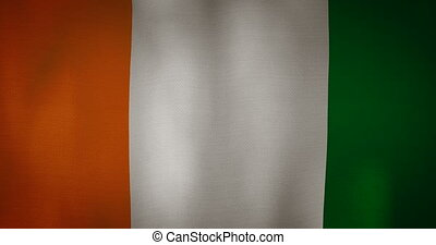 Cote Divoire flag fabric texture waving in the wind -...