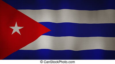 Cuba flag fabric texture waving in the wind. - animation -...