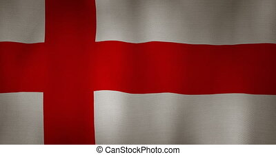 England flag fabric texture waving in the wind - animation -...