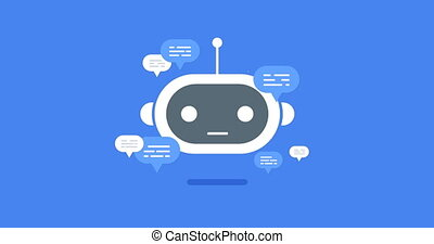 animation modern flat chat bot with speech bubble icons on...