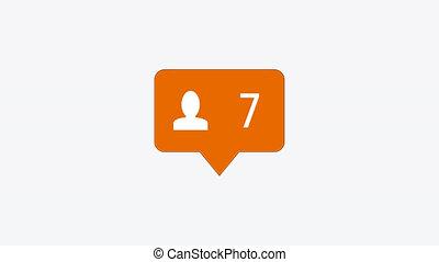 modern follow orange icon on white background
