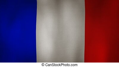 France flag fabric texture waving in the wind. - animation -...