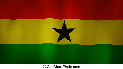 Ghana flag fabric texture waving in the wind. - animation -...