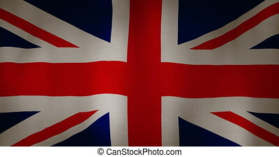 Great Britain flag fabric texture waving in the wind.