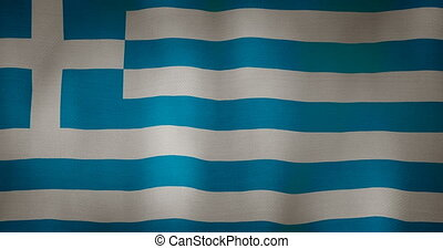 Greece flag fabric texture waving in the wind.