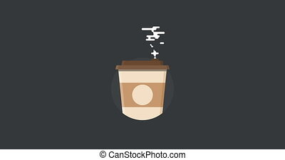 icon of coffee with steam - animation - modern icon of...