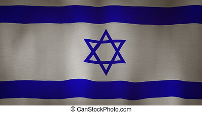 Israel flag fabric texture waving in the wind.