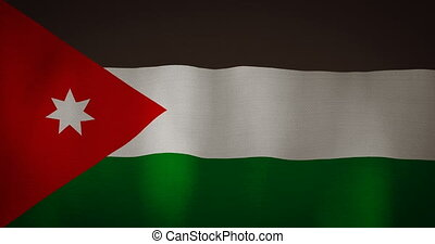 Jordan flag fabric texture waving in the wind. - animation -...