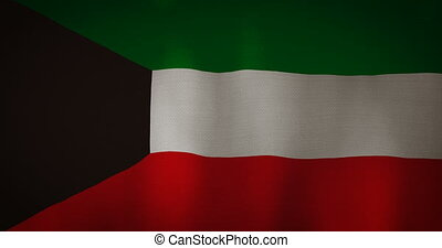Kuwait flag fabric texture waving in the wind.