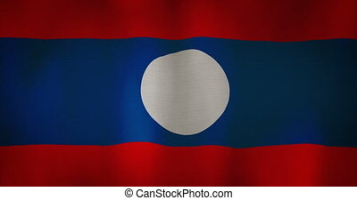 Laos flag fabric texture waving in the wind. - animation -...