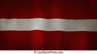 Latvia flag fabric texture waving in the wind.