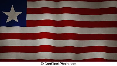 Liberia flag fabric texture waving in the wind. - animation...