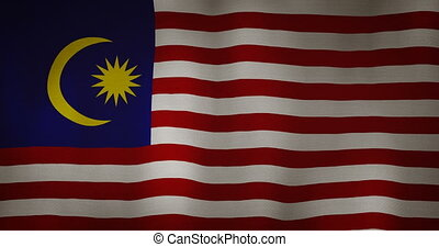 Malaysia flag fabric texture waving in the wind - animation...