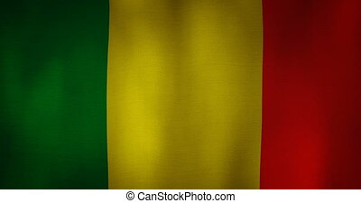Mali flag fabric texture waving in the wind. - animation -...