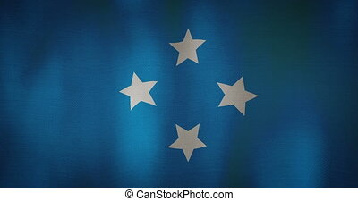 Micronesia flag fabric texture waving in the wind.