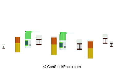 animation modern motion medicine bottles set background