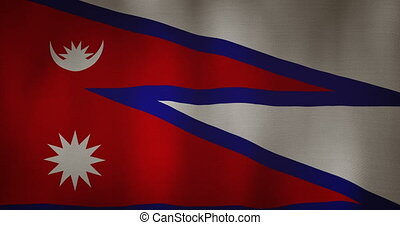 Nepal flag fabric texture waving in the wind - animation -...