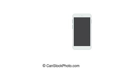 smartphones rotate on white