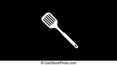animation - modern splotted kitchen spoon glitch background....