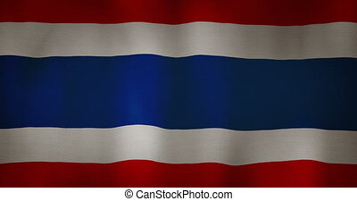 Thailand flag fabric texture waving in the wind. - animation...
