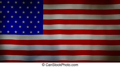 USA flag fabric texture waving in the wind. - animation -...