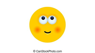 animation modern yellow face on white background