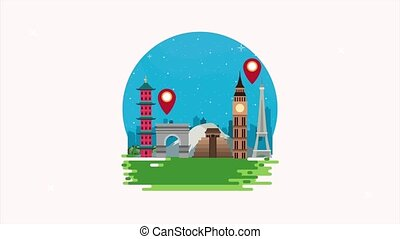 animation, mondiale, tourisme, monuments
