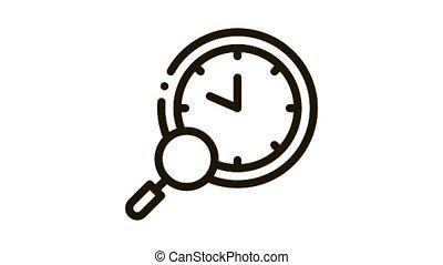 animation, montre, recherche, icône