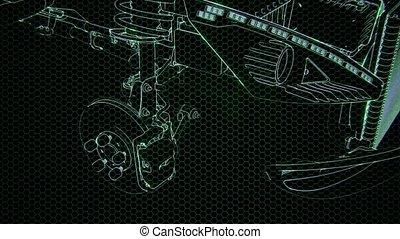 animation, moteur, 3d, holographic, voiture, wireframe, modèle