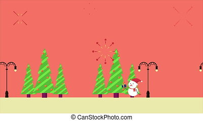 Animation motion of snowman with gift Christmas collection