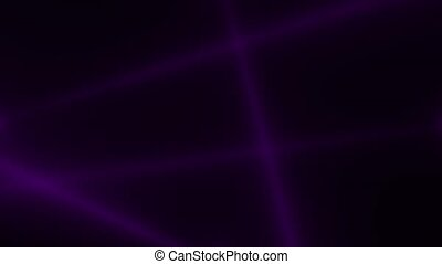 Animation motion purple glowing spotlight beams on dark background in stage